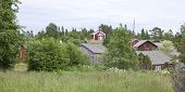 stock photo of chapels  - Several wooden buildings by the Baltic Sea - JPG