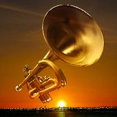 image of trumpet  - abstract night golden background with city and trumpet - JPG