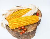 foto of corn-silk  - Dry brown corn and mini tomato - JPG