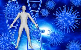 stock photo of cell  - Medical background with abstract 3D virus cells - JPG