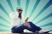 Постер, плакат: technology lifestyle and people concept smiling young woman or teenage girl with smartphone and h