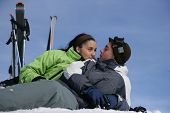 pic of family ski vacation  - Young couple in snowy landscape - JPG