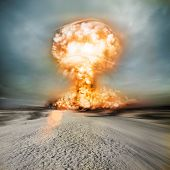 stock photo of nuclear bomb  - A modern muclear bomb explosion in the desert - JPG