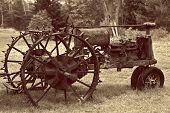 Sepia toned antique tractor