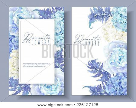 Vector Botanical Banners With Blue