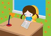 stock photo of girl reading book  - Little girl sit in room and read book - JPG