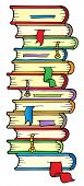 Big column of books - vector illustration.