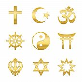 Golden World Religion Symbols. Signs Of Major Religious Groups And Religions. Christianity, Islam, H poster