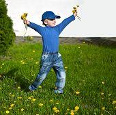 Happy Boy with Flowers