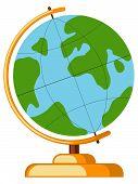 Icon Cartoon Poster School College University Science Globe Earth World. Flat Vector Illustration Fo poster