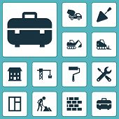 Architecture Icons Set With Window, Excavator, Concrete Mixer And Other Spatula Elements. Isolated V poster