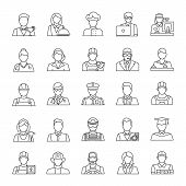 Professions Linear Icons Set. Occupations. Workers. Thin Line Contour Symbols. Isolated Vector Outli poster