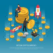 Cryptocurrency Technology Isometric Poster With Man Sitting On Bitcoins Rocket Launch Blockchain And poster