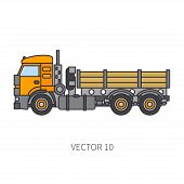 Color Flat Vector Icon Construction Machinery Truck Tipper. Industrial Retro Style. Corporate Cargo  poster