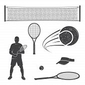 Set Of Tennis Equipment Silhouettes. Vector Illustration. Collection Include Tennis Racket, Balls, T poster