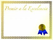 Spanish Award of Excellence with golden ribbon.