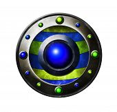 Colored metal button. Button for game interface. Blue and green button poster