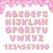 Alphabet Donut Vector Alphabetical Doughnuts Font Abc With Pink Letters And Glazed Numbers With Icin poster
