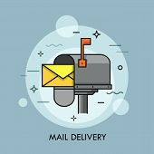 Yellow Envelope In Opened Mailbox. Express Mail Delivery, Courier And Postal Service, Postage And Sp poster