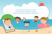 Kids On The Beach , Children Playing On The Beach, Template For Advertising Brochure, Kids Time, Chi poster
