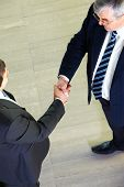 Above view of two managers shaking hands