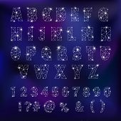 Alphabet Abc Vector Alphabetical Font Constellation With Letters From Stars Astromomy Alphabetic Typ poster