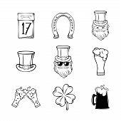 Set Of Happy St. Patrick S Day Typography Retro Style Emblems. Vector Illustration. Irish Party Typo poster