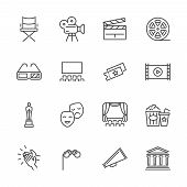 Entertainment And Performance Line Vector Icons. Theater And Cinema Outline Symbols. Cinema And Perf poster