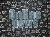 News Concept: Chalk Blue Text Online News On School Board Background With  Hand Drawn News Icons, Sc poster