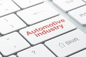Manufacuring Concept: Computer Keyboard With Word Automotive Industry, Selected Focus On Enter Butto poster