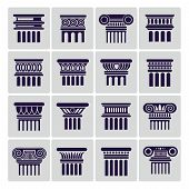 Silhouette Ancient Rome Architecture Column Icons. Vector Architectural Column And Architecture Pill poster
