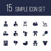 Set Of 15 Kid Icons Set. Collection Of Clockwork Car, Infant, Romper And Other Elements. poster