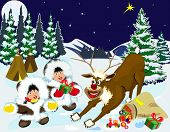 Children And Reindeer The Night Of Christmas.