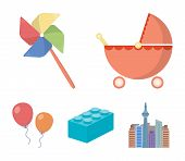 Stroller, Windmill, Lego, Balloons.toys Set Collection Icons In Cartoon Style Vector Symbol Stock Il poster