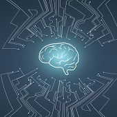 Artificial Intelligence Vector Conept With Brain Illustration On Background With Pcb Circuit. Symbol poster