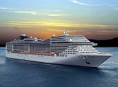 stock photo of passenger ship  - Luxury cruise ship sailing from port on sunset - JPG