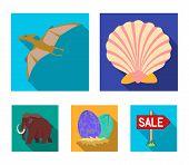 Prehistoric Shell, Dinosaur Eggs, Pterodactyl, Mammoth. Dinosaur And Prehistoric Period Set Collecti poster