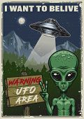 Ufo Poster. I Want To Belive. Vintage Vector Illustration poster