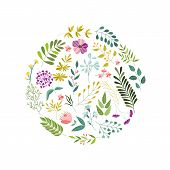 Round Banner, Greeting Card, Eco Logo Decoration Element With Flowers, Leaves And Herbs, Vector Illu poster