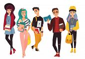 Set Of Modern, Hipster College, University Students, Boys And Girls, Flat Cartoon Vector Illustratio poster