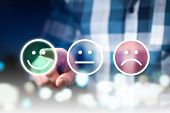 Business Man Giving Rating And Review With Happy, Neutral Or Sad Face Icons. Customer Satisfaction A poster