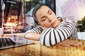 Short Nap. Beautiful Young Responsible Employee Relaxing At Her Workplace And Having A Short Nap Bef poster