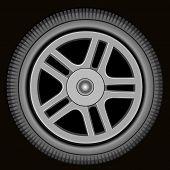 Drawn Automotive Grey Wheel With Alloy Wheel On Black Background poster