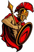 foto of spartan  - Greek Spartan or Trojan Mascot holding a shield and spear - JPG