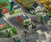 3d Rendering Of City Landscape. Low Poly Colorful Background. Isometric Cartoon City Scape. Differen poster