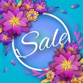 Origami Pink Spring Sale Flowers Banner. Paper Cut Floral Card. Spring Blossom. Happy Womens Day. 8  poster