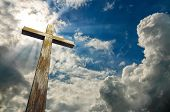 Wooden Cross On Sky Background With Clouds, 3d Illustration, Happy Easter. Christian Symbol. poster