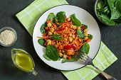 Vitamin Vegetarian Salad With Chickpea, Carrot, Sweet Pepper And Spinach. Dressed With Vinaigrette S poster