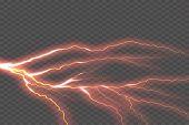 Lightning Electric Thunder Storm Light Flash. Vector Realistic Lightning Rain Weather Thunderbolt On poster