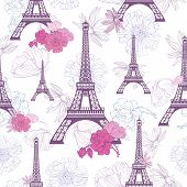 Vector Purple Pink Eifel Tower Paris And Roses Flowers Seamless Repeat Pattern. Perfect For Travel T poster